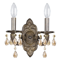 Crystorama 5022-VB-GT-MWP - Crystorama Paris Market 2 Light Golden Teak Crystal Bronze Sconce