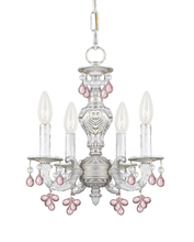 Crystorama 5224-AW-ROSA - Crystorama Paris Market 4 Light Rosa Crystal White Mini Chandelier