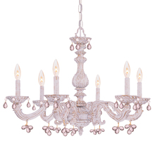 Crystorama 5226-AW-ROSA - Crystorama Paris Market 6 Light Rose Crystal Antique White Chandelier